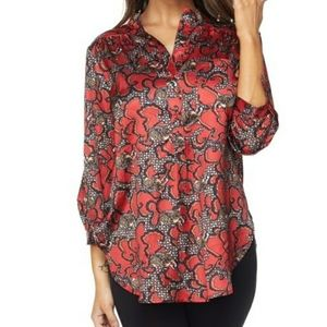 Red Print Satin Shirt With Buttons